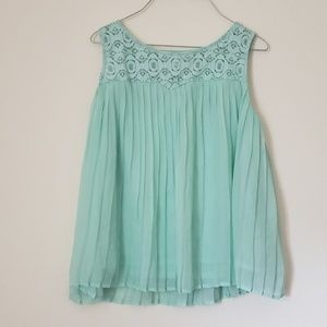 Xhilaration Mint Blue Lace Flowy Top